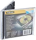 Fellowes CD Hüllen Standard, schwarze Rückseite mit transparentem Deckel, Jewel Case für CDs/DVDs, Packung mit 10 Stück