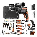 Schlagbohrmaschine 800W, inkl. 145-teiliges Heimwerkzeug Set, Werkzeugkoffer Maßband, Präzisionsschraubendreher, Hammer usw.