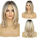 HAIRCUBE Lange Blonde Perücken für Frauen Synthetische Haarperücke mit Pony Ombre Farbe mit Dunklen Wurzeln