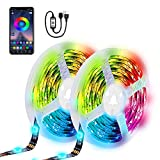 LED Strip, 5M RGB LED Strips, Controllable via App Colour Changing Light Strips Kit for LED Fernseher Backlight, Bedroom Party Beleuchtung, Wardrobe Decoration Licht Hintergrund[Energieklasse A+]