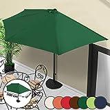 MIADOMODO Sonnenschirm Strandschirm Gartenschirm Halbrund mit Kurbel Schirm (L/B/H): ca. 300/154/235 cm Balkonschirm Sonnenschutz in Sieben