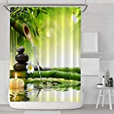 Aitsite Duschvorhänge Duschvorhang Anti-Schimmel, Anti-Bakteriell, Waschbar Badewanne Vorhang Polyester Stoff mit 12 Duschvorhangringen 180x180 cm Grüner Bambus