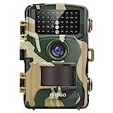 AKASO Wildkamera 14MP 1080P Full HD Jagdkamera Fotofalle Beutekamera mit Bewegungsmelder 20M Nachtsicht IP66 wasserdichte 120°Weitwinkel 2.4'' LCD Loop-Aufnahme Garten- Hausüberwachung