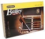 Stanley Bailey Stechbeitel Set 5-teilig (6/10/15/20/25 mm Beitelbreite, gehärteter Stahl, Kunststoffkappe) 2-16-217
