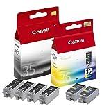 6x Original Tintenpatrone Canon Pixma IP 110 mit Akku, PGI35, CLI36 - 4x BLACK, 2x COLOR
