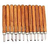 Maike Mall handgefertigt Holzschnitzwerkzeug Holz Craft Stechbeiteln Schnitzmesser, handgefertigt für Skulptur Diy Griff Wax Carving Keramik - 12 Pieces