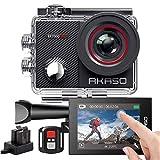AKASO Action Cam 4K 16MP WiFi 40M Unterwasserkamera Wasserdicht Ultra HD Touchscreen Einstellbar Weitwinkel Sportkamera mit Fernbedienung und 25 Zubehör Kit - EK7000-Pro