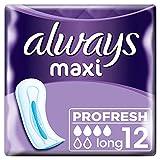 Always Maxi Profresh Binden Damen Long (8x12 Damenbindem) Neutralisieren Gerüche, Super Saugfähig, Weich, Einzeln Verpackt