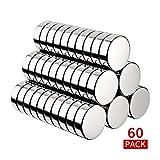 BUSATIA Neodym Magnete, 60 Stück Rund Magnets 10x3mm Mini Magneten für Magnettafel, Whiteboard, Magnetboard, Pinnwand, inkl. Aufbewahrungs Box (60pcs)