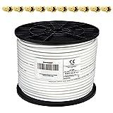 PremiumX 100m Koaxialkabel 135dB 4-Fach SAT Antennenkabel Koaxkabel für DVB-S / S2 DVB-C DVB-T BK Anlagen RG6 Satellitenkabel SAT-Kabel 10x F-Stecker 0,26 EUR/m