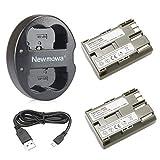 Newmowa Ersatz Akku BP-511 (2er Pack) und Tragbar Micro USB Ladegerät Kit für Canon BP-511 BP-511A Canon EOS 5D 10D 20D 30D 40D 50D Rebel 1D D60 300D D30 Kiss Powershot G5 Pro 1 G2 G3 G6 G1 Pro90