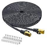 Cat 7 Ethernet-Kabel 15M, ARISKEEN Cat7 Geflochten Flach Hochgeschwindigkeit (10Gbps 600Mhz/s) Gigabit Rj45 STP Geschirmtes Internet Netzwerk Lan Patch Kabel Draht für Router Modem Patch Panel