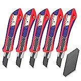 WORKPRO 5 Stück Cuttermesser Set 18mm Abbrechklinge Kartonmesser aus SK5,Mehrzweck Messer Allzweckmesser mit gummiertem Griff inkl. 20 Ersatzklingen, Perfekt für Schneiden zum Papier, Karton usw.