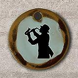 Echtes Kunsthandwerk: Schöner Keramik Anhänger mit einem Saxophonspieler; Saxophon, Jazz,...
