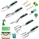 Crenova Gartenwerkzeug Set 34-teiliges Hochleistungs-Gartengerät mit ergonomischem Gummigriff Werkzeugbeutel, Geschenk für Männer oder Frauen