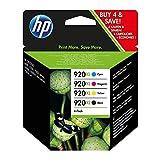 HP 920 Multipack Original Druckerpatronen (Schwarz, Blau, Rot, Gelb) für HP Officejet 7500A, 7000, 6000, 6500, 6500, 6500A, 6500A