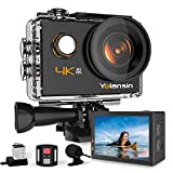 Yolansin Action Cam 4K 20MP WiFi 40M wasserdichte Unterwasserkamera EIS Sportkamera mit 170 ° Weitwinkel HD DV Camcorder mit 2.4G Fernbedienung Helmkamera 2x1200mAh Akkus