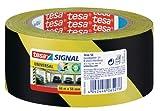 tesa Markierungsklebeband für die temporäre Kennzeichnung von Gefahrenstellen - Gestreiftes Warnband zur Boden- und Sicherheitsmarkierung, 1 Rolle, Schwarz-Gelb