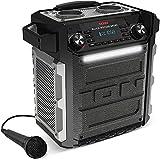 ION Audio Block Rocker Sport - 100Watt Bluetooth Party Lautsprecher  mit wiederaufladbarem Akku, Mikrofon, Radio, LED-Licht, Aux-Eingang, wasserfest nach IPX4