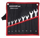 GEDORE red Doppelmaulschlüssel Satz, Set 8-tlg, SW 6-22 mm, metrisch, kurz, Schraubenschlüssel Set mit Rolltasche, R05126008