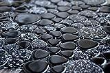 Mosaik Keramik Kiesel Kieselmosaik schwarz hochglänzend Flusskiesel-Optik Mosaikfliesen