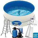 Pool Set Premium Stahlwand Schwimmbecken-Set, Made in Germany mit V2A-Leiter, leistungsstarker Sandfilter, Bodenschutzvlies, Skimmer- u. Schlauch-Set. Ø 3,00 x 1,20m Folie 0,6mm