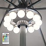 HONWELL Sonnenschirmbeleuchtung,RF Fernbedienung LED Beleuchtung Sonnenschirm mit 12 Farben,Batteriebetriebene Sonnenschirmbeleuchtung mit 5 Beleuchtungsstufen,Timer Campingbeleuchtung für Tischschirm