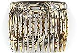 Einsteckkamm 6 cm aus Handfertigung, onyx-silber mit 12 Zähnen
