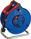 Brennenstuhl Garant IP44 Gewerbe-/Baustellen-Kabeltrommel, 40m - Spezialkunststoff (Baustelleneinsatz und ständiger Einsatz im Außenbereich, Made in Germany) blau