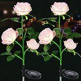 Solarlampen für Außen, 2 Stück Vegena Solar Gartenleuchte Rose Blume Gartenlampe Pfahllichter Straßenlaterne Wasserdicht IP65 Automatische EIN/Aus Solarleuchten für Außen Balkon Garten Gartendeko