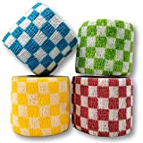 LisaCare Kohäsive Bandage - selbsthaftend, elastisch, 5cm breit für Mensch & Tier - Fixierbinde für Sport Arbeit Reiten mit Farb- & Motivauswahl (Karo-Mix, 4er-Set)