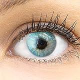 GLAMLENS Sevilla Blue blau + Behälter   Sehr stark deckende natürliche blaue Kontaktlinsen farbig   farbige Monatslinsen aus Silikon Hydrogel   1 Paar (2 Stück)   DIA 14.50   Ohne Stärke