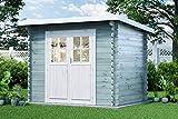 Alpholz Gartenhaus Korfu-28 aus Massiv-Holz | Gerätehaus mit 28 mm Wandstärke | Garten Holzhaus inklusive Montagematerial | Geräteschuppen Größe: 260 x 200 cm | Flachdach