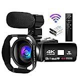 Camcorder 4K Videokamera 48MP 18X Videokamera WiFi Vlogging Kamera IR Nachtsicht Full HD Camcorder...