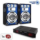 PA Set Blue Star Series Basscore Bluetooth PA Komplettset DJ Partyanlage mit Boxen und Verstärker...
