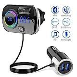 Bluetooth FM Transmitter 5.0 Auto Radio Adapter mit Dual USB Ports (QC3.0/2.4A),...
