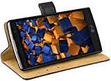mumbi Echt Leder Bookstyle Case kompatibel mit LG G4C / Magna Hülle Leder Tasche Case Wallet, schwarz