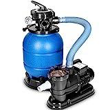 tillvex Sandfilteranlage 10 m³/h - Filteranlage 5-Wege Ventil   Poolfilter mit Druckanzeige   Sandfilter für Pool und Schwimmbecken (Blau)