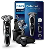 Philips S9711/31 Elektrischer Nass-und Trockenrasierer Series 9000 mit V-Track-Pro-Klingen, SmartClean Reinigungsstation, Bartstyler