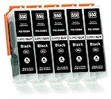 Supply Guy 5 Druckerpatronen mit Chip kompatibel mit Canon PGI-550 PGBK Schwarz für IP7250 IP8750 IX6850 MG5450 MG5550 MG5650 MG5655 MG6350 MG6450 MG6650 MG7150 MG7550 MX725 MX925