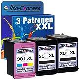 Tito-Express PlatinumSerie Set 3 Patronen Black & Color für HP-301XL Deskjet 1000 1050 1055 1510 2000 2050 2510 2540 2542 2544 3000 3050 3052 3054 3055 3056 3057 3058 3059 3510 | 20ml XXL-Inhalt