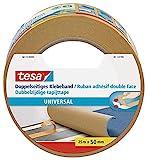 tesa Doppelseitiges Klebeband Universal - Vielseitiges Klebeband für Verpackungen, Deko und Teppiche oder zum Basteln - 25 m x 50 mm