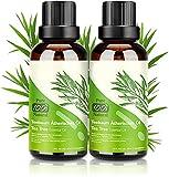 Teebaumöl 100% Pure Natürrein - 2*30ML Teebaum öl Tea Tree Oil für Gesicht Shampoo Körper, Anti Pickel Öl Acne Serum Anti-Akne-Behandlung gegen Unreine Haut Schuppen Mitesser, Diffuser Ätherische Öl