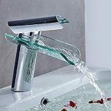 Auralum® Waschbeckenarmatur, für kaltes & warmes Wasser Wasserfall Elegantes Design Einhebelmischer Messing für Badezimmer & Küche