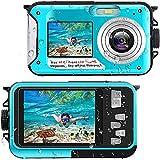 Unterwasserkamera Full HD 2.7K 48MP 10FT Kamera Wasserdicht Dual Screen 16X Digital Zoom Schnorcheln...
