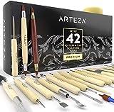 ARTEZA Modellierwerkzeug 42er Set, Töpferwerkzeug für Polymer Clay und Keramik, doppelseitiges Ton-Werkzeug aus Edelstahl für Kunsthandwerk, Skulptur, Profis und Anfänger