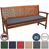 Beautissu Loft BK Bankauflage Auflage für Gartenbank Sitzkissen 150x48x5cm Graphitgrau Polsterauflage mit Oeko-Tex weitere Farben & Größen