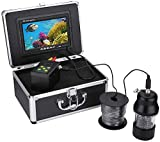 YUKM Tragbarer Fischfinder, Unterwasserfischerei-Video-Kamera-Kit, 22 LEDs 360 Grad Rotierende Nachtsicht-Kamera + 7-Zoll-Monitor + Kabel