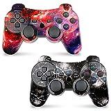 PS3 Controller Wireless 2 Pack für Playstation 3 mit Hochleistungs Doppelschock (Skull + Galaxy)