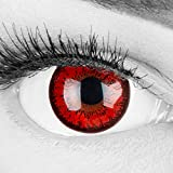 Farbige rote Crazy Fun Kontaktlinsen 'Red Flower' Mit & Ohne Stärke mit Gratis Linsenbehälter - Topqualität zu Karneval, Fasching und Halloween (0,0 Ohne Stärke)